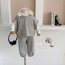 suit Other / other White T , Grey vest + trousers 80cm,90cm,100cm,110cm,120cm,130cm neutral spring and autumn leisure time Sleeveless + pants Multi piece set routine There are models in the real shooting Socket No detachable cap Solid color cotton elder Expression of love Other 100% Chinese Mainland
