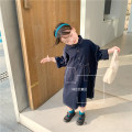 Dress Navy Blue female Other / other 90cm,100cm,110cm,120cm,130cm,140cm Other 100% spring and autumn Korean version Long sleeves Solid color cotton A-line skirt other 12 months, 18 months, 2 years old, 3 years old, 4 years old, 5 years old, 6 years old, 8 years old, 7 years old Chinese Mainland