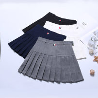 skirt Spring of 2018 S M L XL 2XL Grey white black Navy Short skirt Sweet High waist Pleated skirt Solid color Type A 18-24 years old LS005 91% (inclusive) - 95% (inclusive) other Boumanteau polyester fiber Pleated button zipper Other polyester 95% 5% Pure e-commerce (online only) college