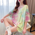 Women's large Summer 2021 Yellow green grey blue M L XL XXL T-shirt commute easy Short sleeve Korean version Crew neck Medium length cotton routine 5028# Tevvini / duveno 18-24 years old Other 100% Hollowing out