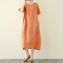 Dress Summer 2020 White orange green Average size Mid length dress singleton  Short sleeve Crew neck High waist Solid color Socket A-line skirt routine 30-34 years old Charming elements JYS2020052101 More than 95% hemp Flax 100% Pure e-commerce (online only)