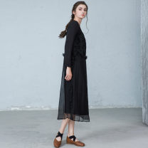 Dress Spring 2021 black S,M,L Mid length dress singleton  Long sleeves commute Crew neck Loose waist Solid color Socket other routine Others 25-29 years old Type H Ol style More than 95% other polyester fiber