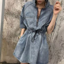 Dress Summer 2021 Picture color S M L XL Mid length dress singleton  Short sleeve commute stand collar High waist Solid color Socket A-line skirt routine Others 25-29 years old Type A Ximu Korean version pocket XM6035 71% (inclusive) - 80% (inclusive) Denim polyester fiber Polyester 80% other 20%