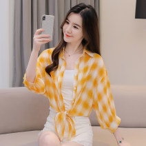 Women's large Summer 2021 White yellow check black white check black red check S M L XL shirt singleton  commute easy moderate Cardigan Long sleeves Decor Britain stand collar have cash less than that is registered in the accounts pagoda sleeve Fadeo 18-24 years old 96% and above Other 100%
