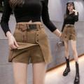 skirt Autumn 2020 S,M,L,XL Black (free belt), khaki (free belt) Short skirt Versatile High waist A-line skirt Solid color Type A 25-29 years old Denim cotton Button