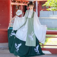 Hanfu 31% (inclusive) - 50% (inclusive) Autumn 2020 White jacket + dark green skirt, white jacket + blue skirt, white jacket + dark green skirt + Green Bijia, white jacket + blue skirt + blue Bijia XS suggests height 150 to 155, s 155 to 160, m 165 to 170, l 170 to 175 wool