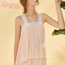 Pajamas / housewear set female langerie  160 165 Polyester (polyester) Sweet Leisure home summer One word collar youth 2 pieces Hollowing out Polyester 100% Summer of 2019 Same model in shopping mall (sold online and offline)