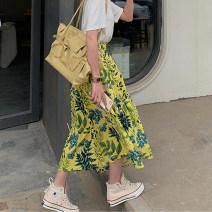 skirt Summer 2020 S,M,L,XL Decor skirt Mid length dress Versatile High waist Irregular Big flower Type A Asymmetric, zipper, print