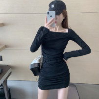 Dress Winter 2020 Grey black S M L XL Short skirt singleton  Long sleeves commute square neck High waist Solid color Socket One pace skirt routine 18-24 years old Good core Korean version fold XDH292 More than 95% brocade other Other 100% Pure e-commerce (online only)
