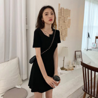 Dress Summer 2020 Black grey S M L XL Mid length dress singleton  Short sleeve commute other High waist Solid color Socket A-line skirt routine Others 18-24 years old Type A Good core Korean version thread GEBD60278 More than 95% other other Other 100% Pure e-commerce (online only)