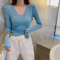 T-shirt White blue S M L XL Summer 2021 Long sleeves V-neck Self cultivation Regular routine commute cotton 96% and above 18-24 years old Korean version youth Solid color Good core XDH3275 Splicing Cotton 100% Pure e-commerce (online only)