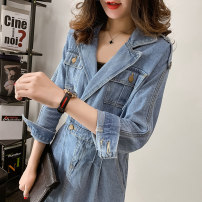 Dress 25-29 years old 19122515 Other / other Autumn 2020 Medium length skirt tailored collar Long sleeve commute singleton  middle-waisted Type H routine Condom 30% and below Solid color cotton other Other Korean version pocket other S,M,L