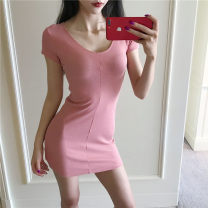 Dress Summer 2020 Black, skin pink Average size Short skirt singleton  Short sleeve V-neck High waist Solid color other One pace skirt routine 18-24 years old other