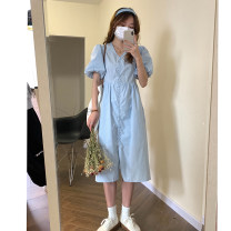 Dress Spring 2021 Blue, white Average size Mid length dress singleton  Short sleeve commute V-neck High waist Solid color Single breasted A-line skirt puff sleeve Others Type A Wu 77 Korean version Fold, lace up, button 31% (inclusive) - 50% (inclusive) other polyester fiber