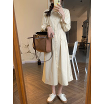 Dress Spring 2021 Apricot, grey blue S, M Mid length dress singleton  Long sleeves commute other High waist Solid color Single breasted A-line skirt shirt sleeve Others Type A Wu 77 Korean version Pleats, buttons More than 95% other cotton
