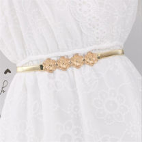 Belt / belt / chain Metal Silver, gold female Waistband grace Single loop Youth, youth, middle age, old age Smooth button Flower design Glossy surface 1cm alloy Tightness 50cm,55cm,60cm,65cm,70cm,75cm