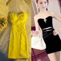 Dress Summer 2016 White, black, pink, red, yellow Average size Miniskirt singleton  Sweet One word collar High waist Solid color Socket Pencil skirt Breast wrapping Type H Bow, diamond, zipper solar system
