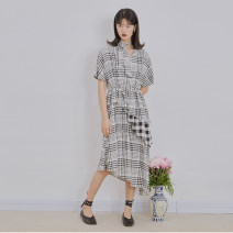 Dress Summer 2020 black and white S, M Middle-skirt singleton  elbow sleeve commute V-neck Elastic waist lattice Socket Irregular skirt routine Others Type A U are / ear literature Fold, asymmetry, wave D66TN1415 More than 95% cotton