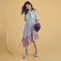 Dress Summer 2020 Color matching S, M Mid length dress singleton  Short sleeve commute Crew neck Loose waist other Socket Irregular skirt Flying sleeve Others Type A U are / ear literature More than 95% brocade cotton