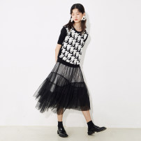 skirt Autumn 2020 S,M,L Pink green, black and white longuette commute High waist A-line skirt other Type A 25-29 years old P67TN1007 More than 95% other U are / ear polyester fiber Gauze literature