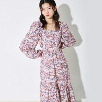 Dress Spring 2021 Decor dress, decor top, decor skirt S,M,L longuette singleton  Long sleeves commute One word collar High waist Broken flowers Socket A-line skirt routine Others 25-29 years old Type A U are / ear literature printing D68TN0713 More than 95% Chiffon polyester fiber