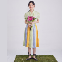 skirt Summer 2020 S,M,L Color matching Mid length dress commute Natural waist Pleated skirt lattice Type A P66TN0514 More than 95% U are / ear polyester fiber Stitching, printing literature