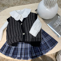 Vest female Other / other spring and autumn routine Single breasted No model in real shooting Korean version cotton lattice 21M02 Class A 18 months, 2 years old, 3 years old, 4 years old, 5 years old, 6 years old, 7 years old, 8 years old black 90cm,100cm,110cm,120cm,130cm,140cm