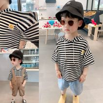 T-shirt Black and white stripes in stock Other / other 80cm,90cm,100cm,110cm,120cm male summer Short sleeve Crew neck Simplicity There are models in the real shooting No detachable cap blending stripe 12 months, 18 months, 2 years old, 3 years old, 4 years old, 5 years old Chinese Mainland