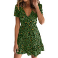 Dress Summer of 2019 Khaki, white, red, green S,M,L,XL Short skirt singleton  Short sleeve street V-neck middle-waisted Leopard Print zipper Ruffle Skirt routine 18-24 years old Type X Other / other 31% (inclusive) - 50% (inclusive) other cotton Europe and America