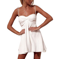 Dress Spring of 2019 white S,M,L,XL Short skirt singleton  Sleeveless street High waist Solid color Socket A-line skirt camisole Type H Other / other 31% (inclusive) - 50% (inclusive) cotton Europe and America