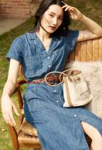 Dress Summer 2021 blue XS,S,M,L Mid length dress singleton  Short sleeve street tailored collar middle-waisted Solid color Single breasted A-line skirt routine Others 30-34 years old Type A Pocket, button More than 95% Denim cotton Europe and America