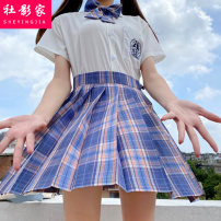 Dress Spring 2021 XS S M L XL XXL Short skirt Two piece set Short sleeve Sweet Polo collar High waist lattice Socket Pleated skirt routine 18-24 years old Social filmmaker Splicing SYJ26461 51% (inclusive) - 70% (inclusive) cotton Cotton 60% polyester 40% solar system Pure e-commerce (online only)