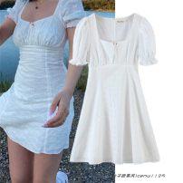 Dress Spring 2021 white S,M,L Short skirt Short sleeve street square neck 245- Europe and America