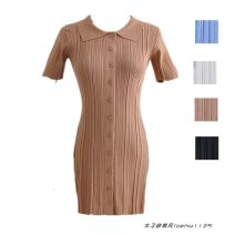 Dress Summer 2021 Black, white, blue, khaki S, M Short skirt singleton  Short sleeve street Polo collar High waist Solid color Single breasted A-line skirt routine Type A Button 556- knitting Europe and America