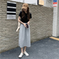 Fashion suit Summer 2021 Average size White T, black T, black skirt, grey skirt 18-25 years old J0315 31% (inclusive) - 50% (inclusive) polyester fiber