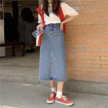 skirt Summer 2021 S,M,L,XL Retro Blue, black grey Mid length dress commute High waist A-line skirt Solid color Type A 18-24 years old C0318 31% (inclusive) - 50% (inclusive) Denim polyester fiber Button Korean version