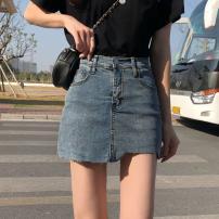 skirt Summer 2021 S,M,L,XL Nostalgic blue Short skirt Versatile High waist skirt Solid color Type A 18-24 years old 71% (inclusive) - 80% (inclusive) Denim