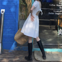 Dress Spring 2021 White, black M, L Middle-skirt singleton  Short sleeve commute square neck Elastic waist Solid color Socket other other Others 18-24 years old Type A Korean version J0315 31% (inclusive) - 50% (inclusive) other polyester fiber