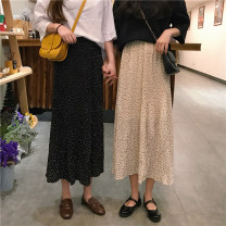 skirt Spring of 2019 Average size Apricot, black longuette commute High waist Pleated skirt Dot Type A 18-24 years old 30% and below other Korean version