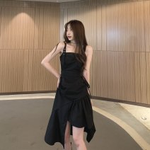 Dress Summer 2021 black S,M,L longuette singleton  Sleeveless commute One word collar High waist Solid color Socket Irregular skirt routine camisole 18-24 years old Type A Korean version backless C0322 31% (inclusive) - 50% (inclusive) other polyester fiber