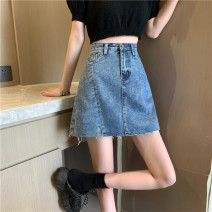 skirt Summer 2021 S,M,L,XL blue Short skirt commute High waist A-line skirt Solid color Type A 18-24 years old C0325 31% (inclusive) - 50% (inclusive) other Korean version