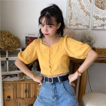 Lace / Chiffon Summer 2021 White, yellow Average size Short sleeve commute Cardigan singleton  Self cultivation have cash less than that is registered in the accounts other Solid color routine 18-24 years old Other / other C0412 Button Korean version 31% (inclusive) - 50% (inclusive) polyester fiber