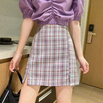 skirt Spring 2021 S,M,L Purple, blue Short skirt Versatile High waist A-line skirt lattice Type A 18-24 years old J0315 31% (inclusive) - 50% (inclusive) other polyester fiber