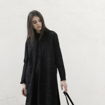 Dress Winter 2020 black S M L Mid length dress other Long sleeves commute stand collar Loose waist Solid color Single breasted other shirt sleeve Others 25-29 years old Type H Flowers, trees and fruits Simplicity Button More than 95% cotton Cotton 100% Pure e-commerce (online only)