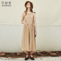 Dress Summer of 2018 khaki S M L longuette singleton  Sleeveless commute Crew neck Loose waist Solid color Socket A-line skirt routine straps 25-29 years old Type A Flowers, trees and fruits Simplicity Three dimensional decoration of pleated pocket SW18160Z More than 95% other Viscose (viscose) 100%