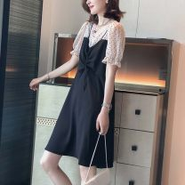 Dress Summer 2021 black S M L longuette singleton  Short sleeve commute Crew neck High waist Solid color Socket A-line skirt routine 30-34 years old Type A Teyhant Splicing T032903 More than 95% Chiffon other Other 100% Pure e-commerce (online only)