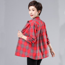 Middle aged and old women's wear Spring 2021 Red check black and white check Khaki XL recommendation 90-105 kg 2XL recommendation 105-120 kg 3XL recommendation 120-135 kg 4XL recommendation 135-145 kg 5XL recommendation 145-160 kg commute shirt Straight cylinder singleton  lattice Cardigan moderate