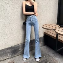 Jeans Autumn 2020 Blue 5219 black 5219 blue 5217 S M L XL trousers High waist Flared trousers Thin money 18-24 years old Old wash zipper multiple pockets other Thin denim light colour Charming catkins 31% (inclusive) - 50% (inclusive) Other 100%