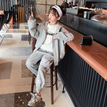 suit Guldoeleph / Gudong elephant Grey Han Fan leisure sports suit Tibetan Qing Han Fan leisure sports suit 120cm 130cm 140cm 150cm 160cm 170cm female spring Korean version Long sleeve + pants 2 pieces Thin money There are models in the real shooting Zipper shirt No detachable cap stripe cotton
