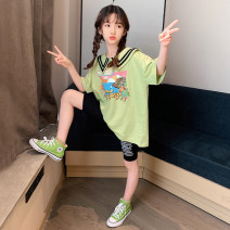 suit Guldoeleph / Gudong elephant 120cm 130cm 140cm 150cm 160cm 170cm female summer Korean version Short sleeve + pants 2 pieces Thin money There are models in the real shooting Socket nothing Cartoon animation cotton children Expression of love TZ0355 Class B Cotton 100% Summer 2020 Chinese Mainland